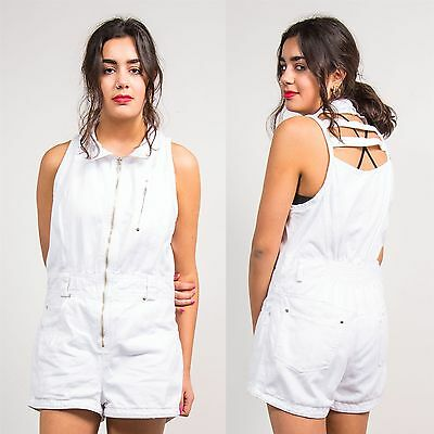 Womens Vintage 90's White Denim Playsuit Romper Cut Out Back Shorts Summer 14