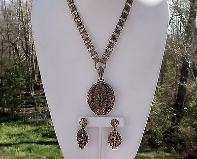 Victorian Revival Large Book Chain Locket Necklace Earrings Ornate 3D