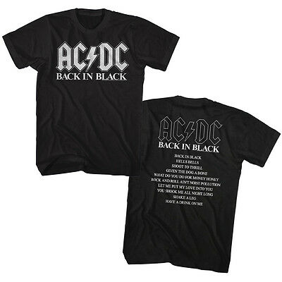 AC/DC Back In Black Song List Double Sided Adult T Shirt Heavy Metal Music