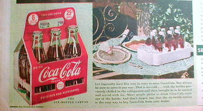2 large illustrated COCA COLA ads from 1941 showing bottles & cartons in COLOR