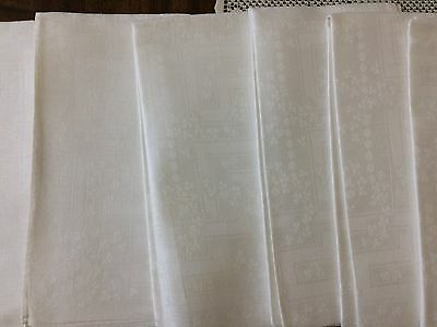 6 Vintage Antique Irish Damask Linen Napkins Shamrock Design Perfect Look Unused