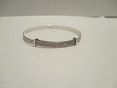 Bangle Celtic Knot Serpent Design Sterling Silver Vintage Slide Band Bracelet