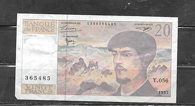 FRANCE #151i 1997 VG CIRC 20 FRANCS OLD BANKNOTE PAPER MONEY CURRENCY BILL NOTE