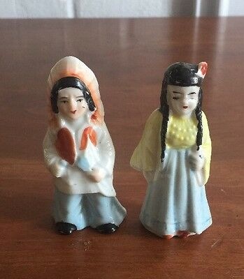Vintage Ceramic Pottery Figurines~~made in JAPAN~~Indian w / Squaw