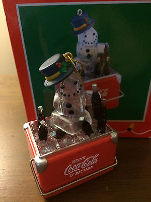 Enesco Coca-Cola Christmas Holiday Ornament Snowman in a Cooler Ice Chest 1997