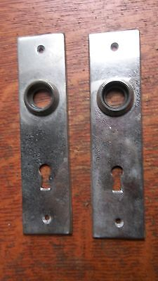 Two Antique Nickel-Plated Brass Craftsman Doorplates - Door Plates c1920