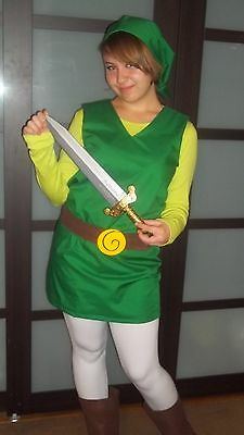 TOON LINK costume wind waker four swords minish Super Smash Bros /Zelda cosplay