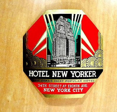 New York HOTEL NEW YORKER vintage Old Gold Embossed ART DECO LUGGAGE LABEL nice!