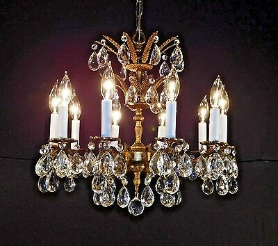 MESMERIZING Antique 10 Arm 10 Lite French Brass Bronze Crystal Chandelier