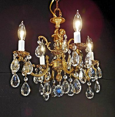 Darlingest Antique 4 Arm 4 Lite French Putti Cherub Brass &  Crystal Chandelier