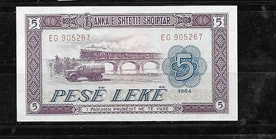 ALBANIA #35a 1964 VF CIRC 5 LEKE OLD BANKNOTE PAPER MONEY CURRENCY BILL NOTE