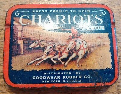 Vintage Collectible Chariots Condom Ad Litho Tin Box Goodwear Rubber Co.