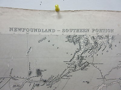 Antique British Admiralty Map Chart Newfoundland Southern Portion 1870-1915