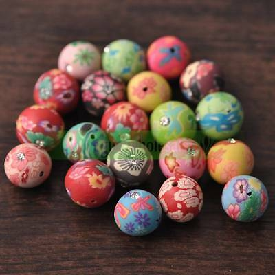 50pcs 6/8/10/12/15mm Wholesale Mixed Round Polymer Clay Fimo Flowers Loose Beads