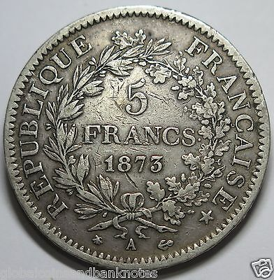 France - 1873 Silver 5 Franc.. Very Fine