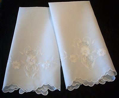 Vintage 2 White Guest Towels with White Embroidery
