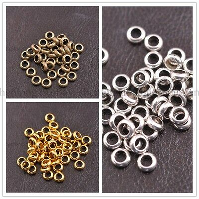 Tibetan Silver/Gold/Bronze Rings Spacer Beads Jewelry Findings 6x2MM E3142