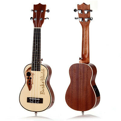 "21"" Soprano EQ Electro-acoustic Ukulele Uke Hawaii Guitar Brown Gift"
