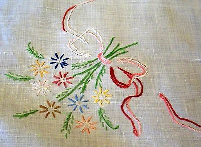 Vintage White Linen Table Centrer Doily Hand Embroidered Flowers