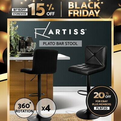 4x Bar Stools PU Leather Chrome Kitchen Cafe Barstool Chair Gas Lift Black 1536