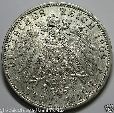 Germany - 1909.S Silver 3 Mark 'Hamburg'