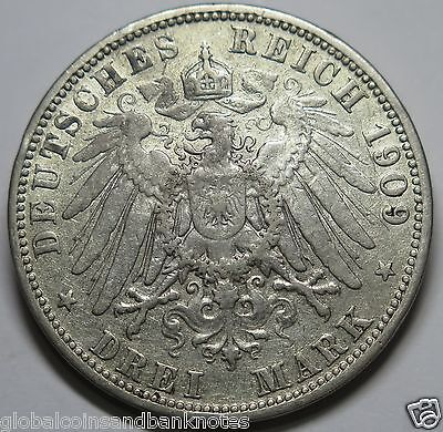 "Germany - 1909 Silver 3 Mark ""Prussia"" VF"