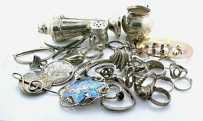 200.1 Grams Assorted Ring Shaker Pendant Misc Material Sterling Silver Scrap S1