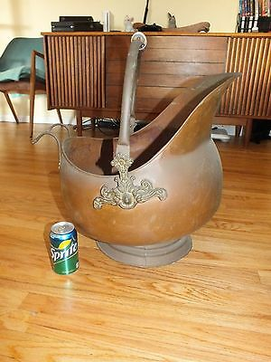 RARE XL Antique Copper & Brass Coal Fireplace Scuttle Bucket Delft Handle 55''