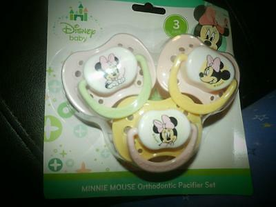3 New Disney Baby Minnie Mouse Pacifers Orthodontic Bpa Free Infant Pink Yellow