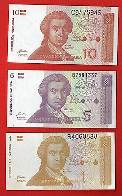 CROATIA REPUBLIKA HRVATSKA 1991-93 ISSUE LOT (3) pc. 1;5 AND 10 DINARA UNC 183