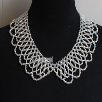 New Fashion Pretty Clear Rhinstone Faux Pearl Lace Trim Lady Neck Collar 10 Sort