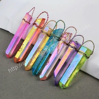 SALE! RANDOM 1Pcs Wire Wrap Titanium Rainbow Crystal Point Pendant HG0426