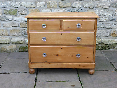 Antique Stripped Pine Chest of Drawers, 2 over 2 on Turned Feet + Glass Knobs