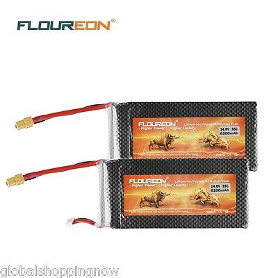2X 4S 14.8V 35C 6200mAh Lipo RC Battery Batería XT60 for RC Helicopter Coche ES