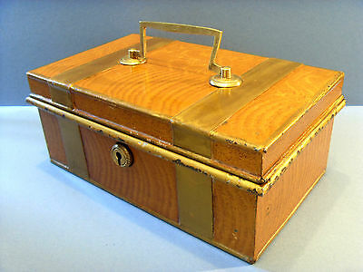 LATE 19thC ANTUQUE TIN CASH BOX WITH POLYCHROME WOOD EFFECT.