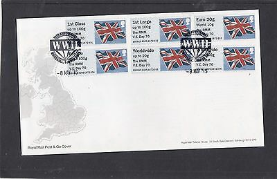 GB 2015 Post & Go Frama ATM Union Flag RMM VE Day 70 FDC London SW1A pictor pmk