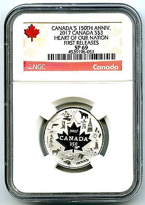 2017 $3 Canada 150Th Silver Ngc Sp69 Heart Of Our Nation First Releases