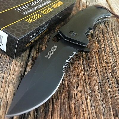 TAC FORCE Spring Assisted Open Black Wood BOWIE Tactical Rescue Pocket Knife