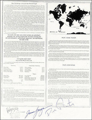 The Voyager Crew - Leaflet Signed Co-Signed By: Jeana Yeager, Dick Rutan