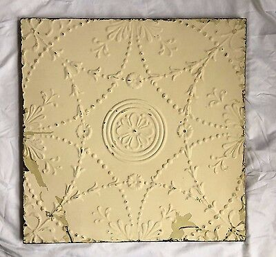 1890's 23 x 23 Antique Tin Ceiling Tile Metal Wrapped Wall Anniversary 296-17