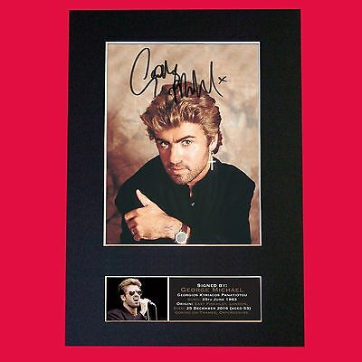 #2 GEORGE MICHAEL Memorial Signed Autograph Mounted Photo Repro PRINT A4 651