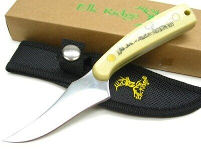 Elk Ridge ER-299IV Deer Handle Straight Full Tang Hunting Skinner Knife + Sheath