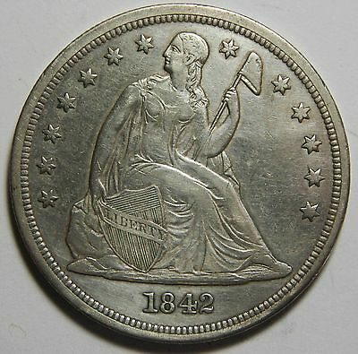 1842 Seated Liberty Silver Dollar $1 Coin Lot# MZ 4409