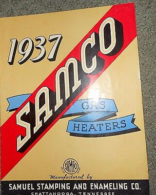 1937 Samco Gas Heaters Brochure Samuel Stamping Enameling Co. Chattanooga TN
