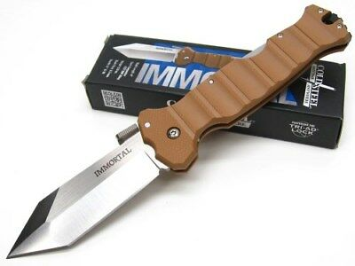 COLD STEEL Coyote Tan IMMORTAL Straight CTS-XHP Folding Pocket Knife! 23GVB