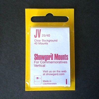 Showgard Stamp Mounts Size JV 25/40 CLEAR Background Package of 40