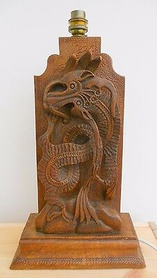"Antique Oriental Chinese Lamp Base Wood Carving Serpent Flower Bird 17""x9""x4.5"""