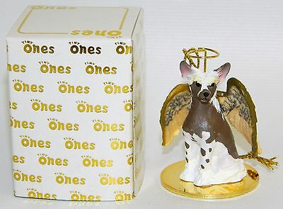 """Chinese Crested Dog Figurine Ornament Angel 2"""" Miniature Figure Tiny Ones 1996"""