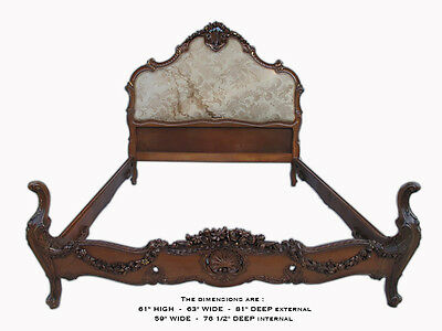 Gorgeous French Louis XV Carved Upholstered Full Bed - 10055