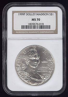 1999P Dolly Madison NGC MS70 US Commemorative Silver Dollar